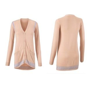 CAbi Lucy Cream Blue Long Sleeve Button Cardigan S